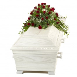 Red Rose and Gypsophilia Half Casket Spray